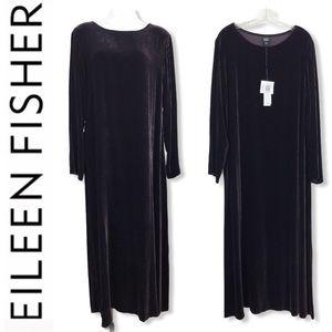 Eeileen Fisher brown velvet silk long maxi dress L